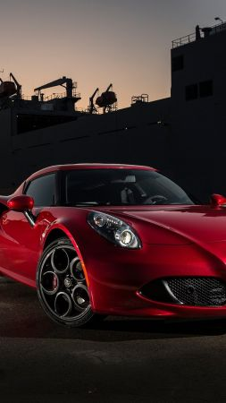 Alfa romeo 4c, coupe, sportcar, red. (vertical)