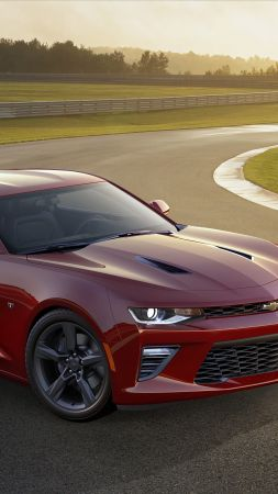 Chevrolet Camaro SS, muscle car, coupe, red (vertical)