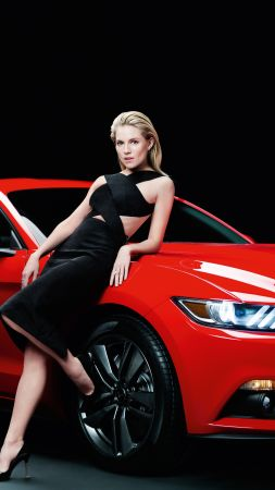 Ford Mustang, Sienna Miller, girl, red, coupe. (vertical)