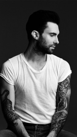 Adam Levine, Maroon 5, singer, actor, rock band, Japanese style, tattoo (vertical)