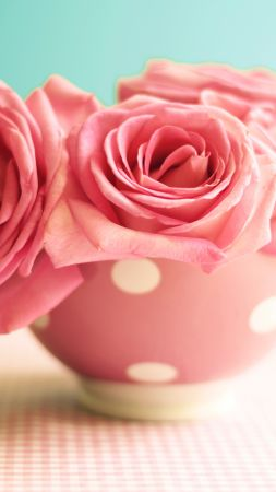 Roses, 5k, 4k wallpaper, 8k, flowers, pink, mug (vertical)