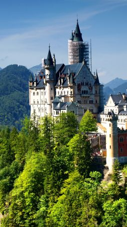 Neuschwanstein Castle, Bavaria, Germany, Alps, mountain, castle, travel, tourism (vertical)