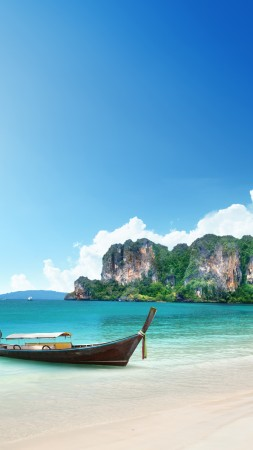 Thailand, 5k, 4k wallpaper, 8k, beach, shore, boat, rocks, travel, tourism (vertical)