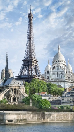 Paris, France, monuments, travel, tourism (vertical)
