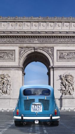 Paris, France, Arc de Triomphe, monument, travel, tourism, car (vertical)