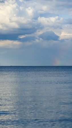 Baltic sea, 5k, 4k wallpaper, 8k, horizon, sky, clouds, rainbow (vertical)