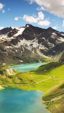 Ceresole Reale, 4k, 5k wallpaper, Italy, mountains, lake, hills. clouds