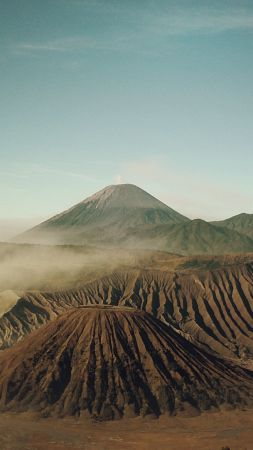 Bromo, 4k, 5k wallpaper, Indonesia, volcano, sand (vertical)