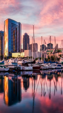 San Diego, harbor, Sunset, sunrise, water, reflections, city, travel (vertical)