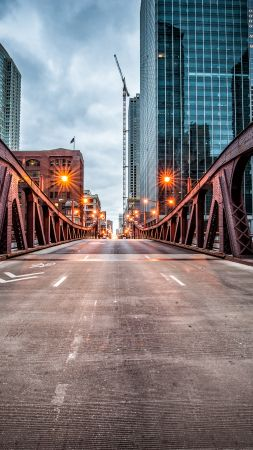 Clark Street Bridge, Chicago, USA, travel, tourism (vertical)