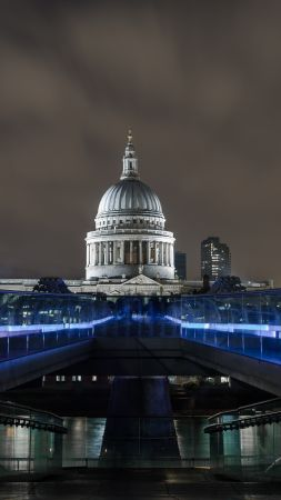 Millenium Bridge, London. England, tourism, travel, night (vertical)