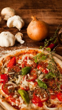 pizza, tomatoes, pepper, dough, olives, olive oil, cheese, basil, garlic, onions, mushrooms