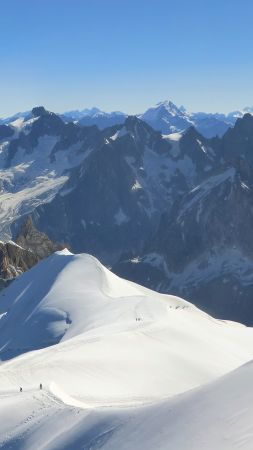 Aiguille du Midi, 4k, 5k wallpaper, French Alps, tourism, travel, snow, mountain (vertical)