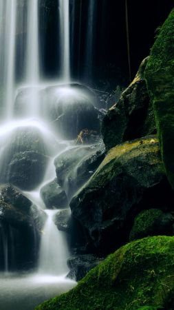 Waterfall, 5k, 4k wallpaper, New Zealand, travel, tourism, lake, rocks, stones (vertical)