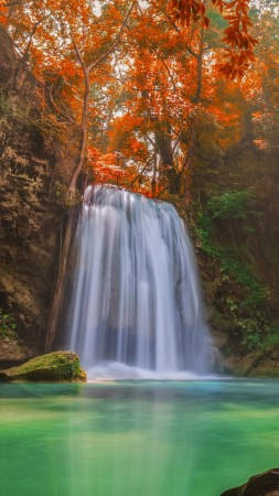 Waterfall, 5k, 4k wallpaper, Thailand, travel, tourism, River, autumn (vertical)