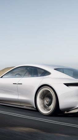 Porsche Mission E, Electric Cars, supercar, 800v, white (vertical)