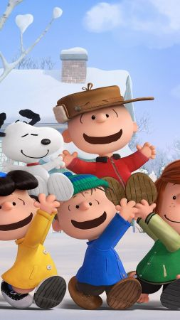 The Peanuts Movie, Snoopy, Charlie Brown, winter, friends (vertical)