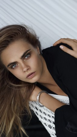 Cara Delevingne, model, black, blouse, hammock (vertical)