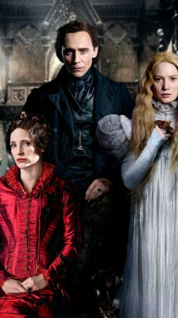 Crimson Peak, movie, Tom Hiddleston, Mia Wasikowska (vertical)