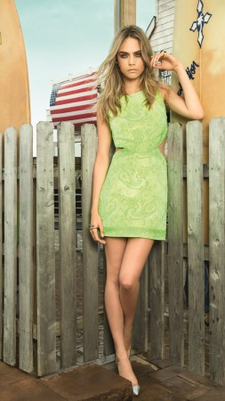 Cara Delevingne, model, green, dress, street (vertical)