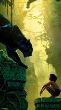 The Jungle Book, Mowgli, Bagheera, adventure, fantasy, Best movie of 2016 (vertical)