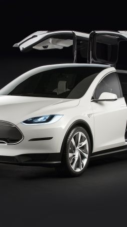 Tesla model x, white, electric cars, suv, 2016 (vertical)