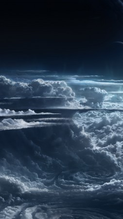Sky, clouds, planet, light, atmosphere, cyclone, white, blue
