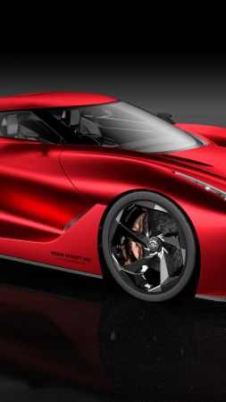 Nissan 2020 Vision Gran Turismo, red, concept, Nissan, supercar, luxury cars, sports car, speed, test drive (vertical)