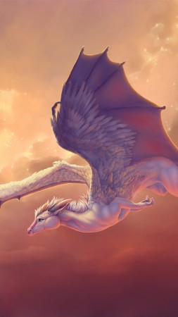 Dragon, 4k, HD wallpaper, wings, sky, pegasus, creation, clouds, art (vertical)