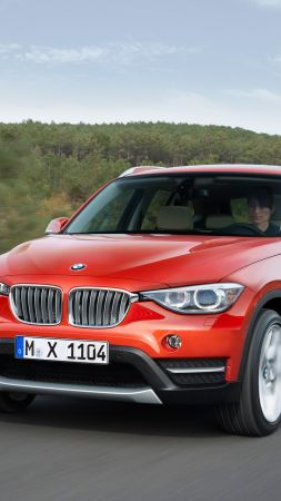 BMW X1, crossover, luxury cars, red, SUV, xDrive, sDrive, Frankfurt 2015 (vertical)