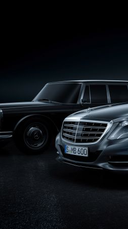 Mercedes Maybach S600 Pullman, sedan, grey, supercar, luxury cars, sports car (vertical)