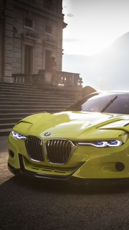BMW 3.0 CSL, yellow, sports car, bmw, xDrive, sDrive (vertical)