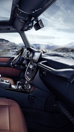 Mercedes-Benz G 500, SUV, Mercedes, G-Class, off-road, interior, luxury cars (vertical)