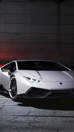 Lamborghini Huracan LP610-4, supercar, white, luxury cars, sports car, test drive (vertical)