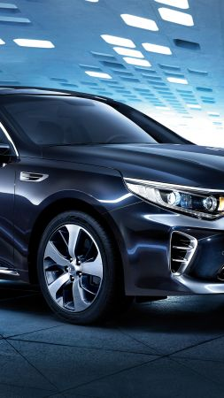 Kia Optima GT, supercar, black, luxury cars, sports car, test drive (vertical)