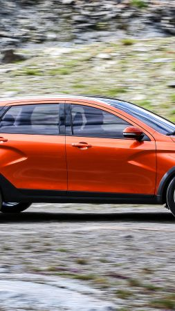 Lada Vesta Cross, city cars, review, test drive, orange (vertical)