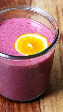 smoothies, blueberry, orange (vertical)