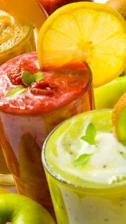 smoothies, fruit, kiwi, apple, orange, strawberry, raspberry, mango,  (vertical)