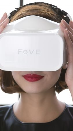 Fove headset VR, Head-mounted display, concept, 2016 (vertical)