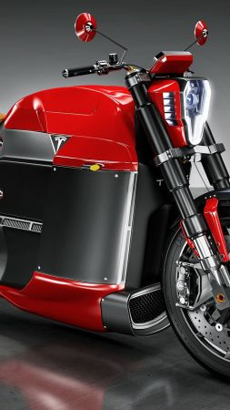 Tesla Model M, electric, motorcycle, red, motorcycles of future