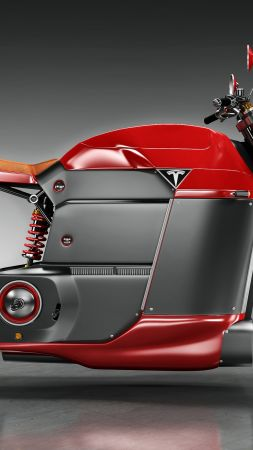 Tesla Model M, electric, motorcycle, red, motorcycles of future (vertical)