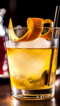 cocktails, whiskey, ice, orange,  (vertical)