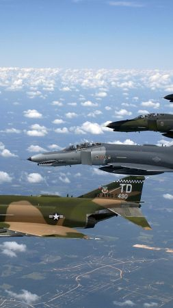McDonnell Douglas F-4 Phantom II, F 4, fighter-bomber, Phantom 2, US Air Force, fighter (vertical)