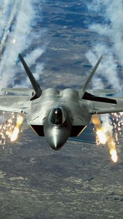 Raptor F-22, Martin, shooting, stealth, air superiority fighter, U.S. Air Force (vertical)