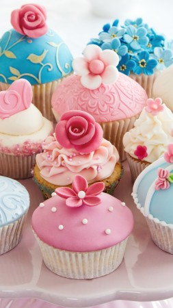muffins, cream, powdered sugar, flowers, roses, desserts, pastries (vertical)