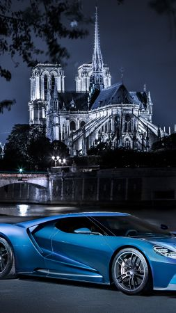 Ford GT, supercar, concept, blue, sports car, luxury cars, test drive (vertical)