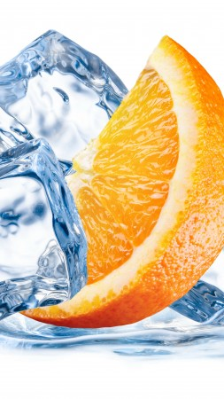 orange, ice, water