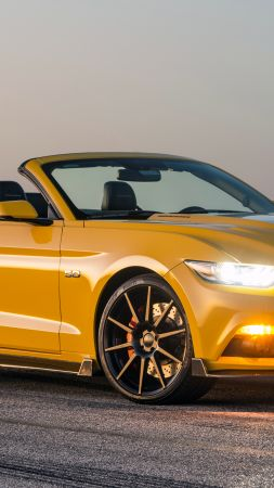 Hennessey Mustang GT Convertible, HPE750 Supercharged, yellow, sport car, racing, SEMA 2015 (vertical)