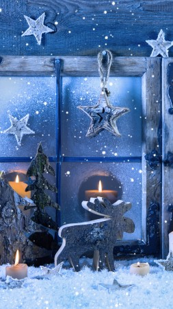 Christmas, New year, decorations, candle, snow, fir-tree, star (vertical)