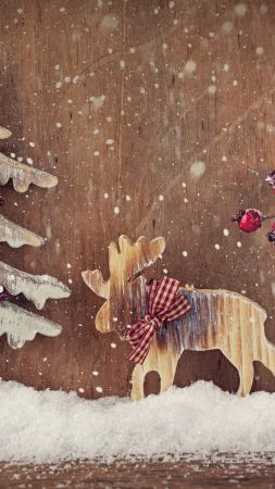 Christmas, New Year, deer, fir-tree, Elk, decorations, snow (vertical)